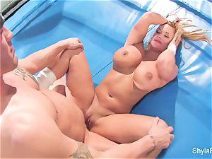 huge-boobed platinum-blonde Shyla Stylez does some hard-core teaching