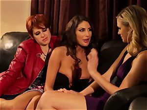 August Ames and Lily Cade rope on couch lovemaking