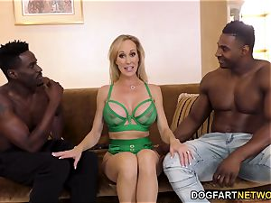 Brandi love Works On two huge ebony sausages