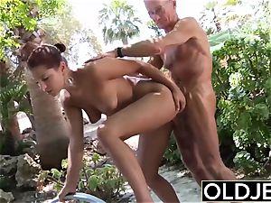 girlfriend caught poked elder stud she fellates schlong