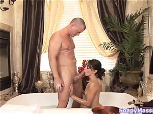 Gigi touches his pecker between her veejay lips