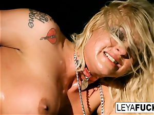Disco honey Leya gets an assfuck screwing and internal cumshot