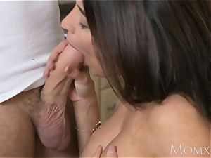 mother French dark haired Anissa Kate pokes the plumber