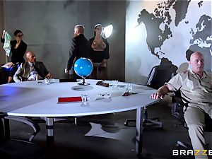 humungous breasted Peta Jensen torn up across the boardroom table