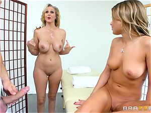 Julia Ann shares a hot masseuse with stepdaughter Kendall Kayden