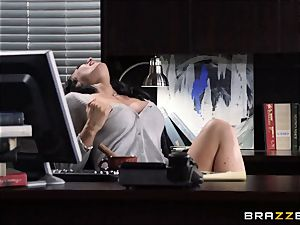assistant Jayden Jaymes pummels on the bosses desk