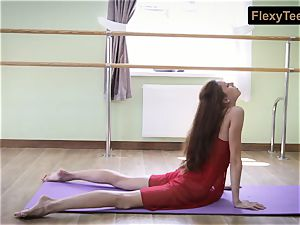 kinky gymnast Inessa in a red sundress