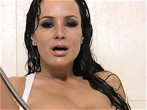 Lisa Ann solo coochie have fun in a steaming super-fucking-hot shower