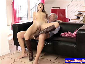 black-haired unexperienced puny honey fucked