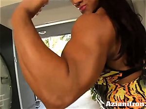 2 uber-sexy intense girls flexing their bare bodies for you