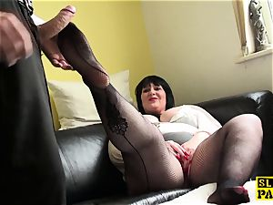 lush uk mature fingers her cunt in fishnets