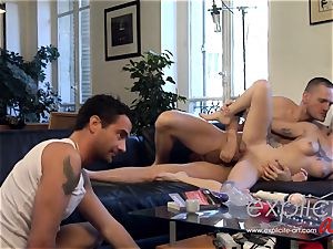 white Coopers 1st hard-core threeway and