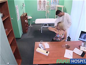 FakeHospital huge-boobed Russian babe swallows cumload