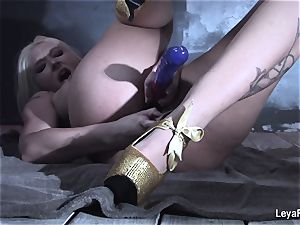 Leya Falcon stuffs bang-out playthings in both her fuckholes