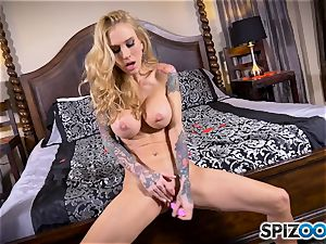 tatted lean blonde Sarah Jessie messes with her muff