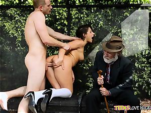 funny situation of labia wedged daughter and her granddad observes at bus stop - Abella Danger and Bill Bailey