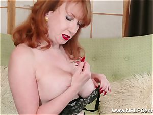 big-boobed crimson finger pounds cunt in garter nylons and pumps