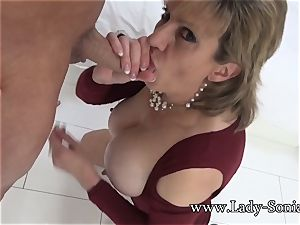 lady Sonia Mature babe lubed Up And inhaling pecker