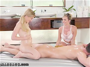 Stepmom Helps daughter-in-law Land masseuse Job three-way