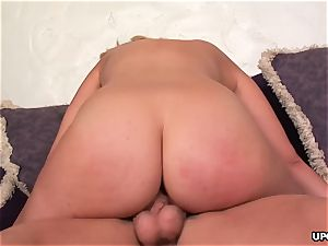 Katie slips down that enormous cock as she cowgirl rides