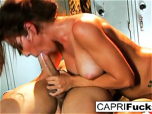 Xander wins the reward of Capri's cock-squeezing labia