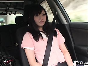 Precious and nice nubile getting touched in the car
