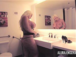 meaty jug platinum-blonde Alura Jenson romping a nervous customer