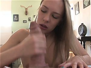 Blue Angel gets her facehole inserted with rock hard weenie