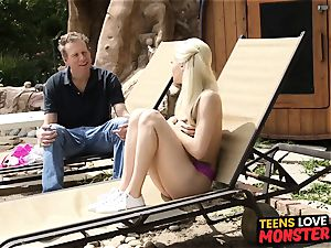 Pretty teenage childminder Elsa Jean screwed by enormous man rod