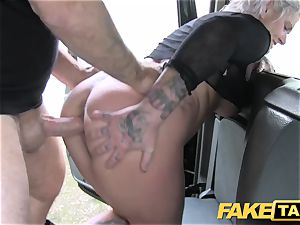 fake cab platinum-blonde mummy gets surprise anal sex