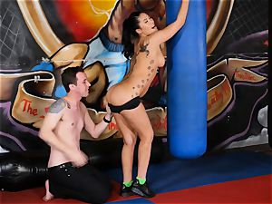 chinese bombshell London Keyes porks her boy after a exercise