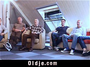 six oldman banging in gang a splendid super-fucking-hot blonde