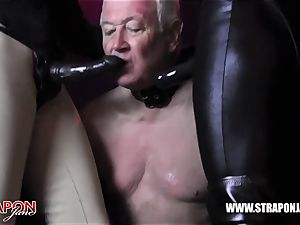 Femdoms spandex dominate tag team sissy face pulverize belt cock