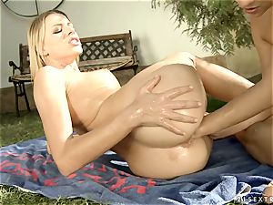 Alluring Blue Angle pushes her knuckle up this cocksluts snatch