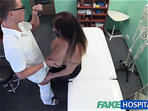 FakeHospital stunner wants jism all over her immense hefty jugs