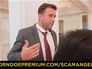 SCAM ANGELS - scorching Melissa Moore banged in kinky four-way