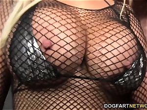 Bridgette B deepthroats many ebony shafts - Gloryhole