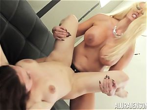 Alura Jenson cootchie crammed with belt cock strenuous muscled doll Brandi May