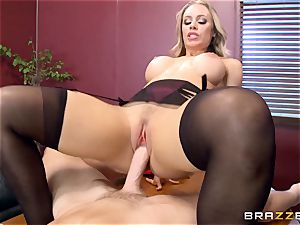 warm manager Nicole Aniston taking a thick lollipop in the office