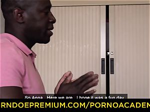 porn ACADEMIE - nubile Anna de Ville scorching interracial dp