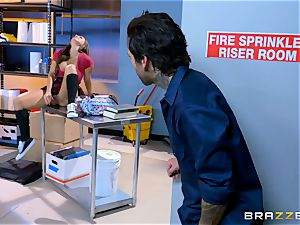saucy schoolgirl Abigail Mac screws in the janitors room