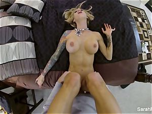 huge-titted pornographic star Sarah pulverizes