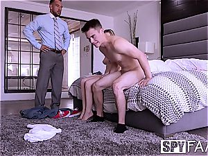 SPYFAM boyfriend observes gf penetrate Step father