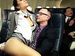 Asa Akira and her hostess friends drill on flight