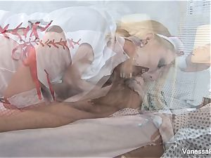 Nurse Vanessa cell takes care of her patient's wood