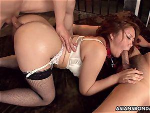 providing her butt up in a mischievous bondage & discipline session