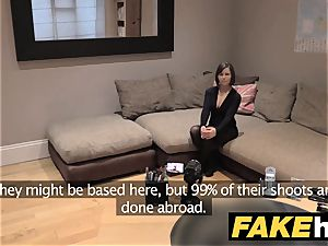 fake Agent UK Randy dark-haired takes a enormous facial