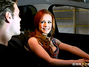 british red-haired Ella Hughes gets a fine deal on her first-ever car