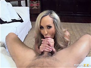 Club holder Brandi love tests out a new toyboy trouser snake