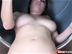 Karlee Grey sucks and gets ravaged in the washing machine